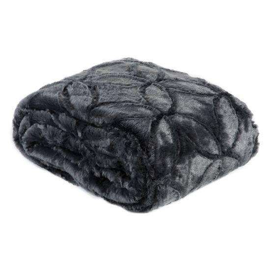Narzuta futerko na łóżko stalowy szary 170x210 cm - 170 X 210 cm - grafitowy