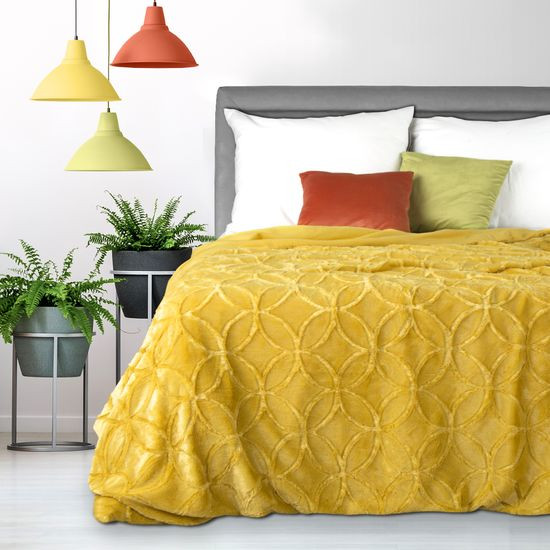 Narzuta futerko na łóżko musztardowa 170x210 cm - 170 X 210 cm - musztardowy