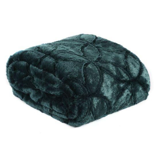 Narzuta futerko na łóżko ciemny turkus 170x210 cm - 170 X 210 cm - petrol