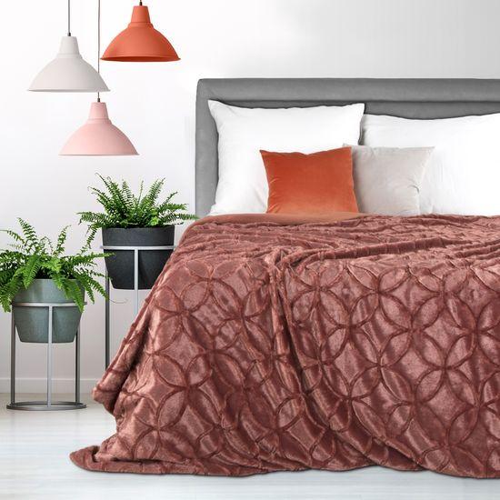 Narzuta futerko na łóżko ciemny różowy 170x210 cm - 170 X 210 cm - marsala