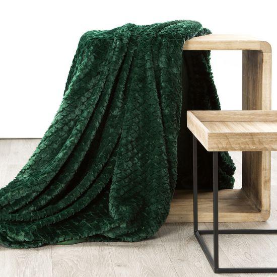 Amber koc z mikroflano z efektem 3D zielony 170x210 cm Design 91 - 170 X 210 cm - butelkowa zieleń
