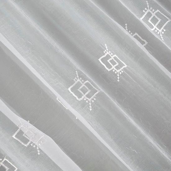 Firana haftowana z satynową listwą biała tunel 400x145cm - 400x145