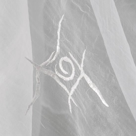 Firana haftowana z satynową listwą  kremowa tunel 400x145cm - 400x145