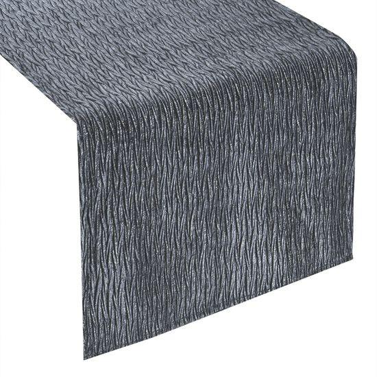 Stalowy BIEŻNIK Z MARSZCZENIEM velvet z nadrukiem 40x140 cm - 40X140