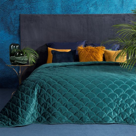 Ekskluzywna narzuta do sypialni pikowana - mój wybór Eva Minge - turkusowa 220x240 cm - 220 X 240 cm - ciemnoturkusowy