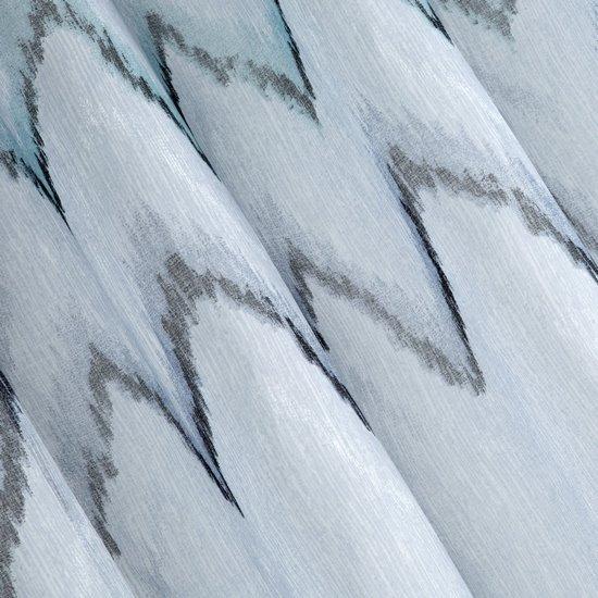 Srebrna zasłona z etaminy wzór w zygzak 140x250 na przelotkach - 140 X 250 cm - stalowy