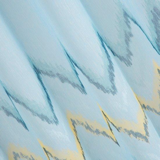 Niebieska zasłona z etaminy wzór w zygzak 140x250 na przelotkach - 140x250