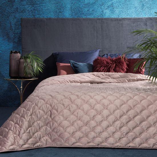 Ekskluzywna narzuta do sypialni pikowana - mój wybór Eva Minge - różowa 220x240 cm - 220 X 240 cm - różowy