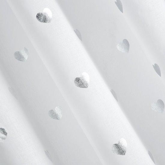 Biała firana ze srebrnymi sercami na przelotkach 140x250 cm - 140 X 250 cm - biały