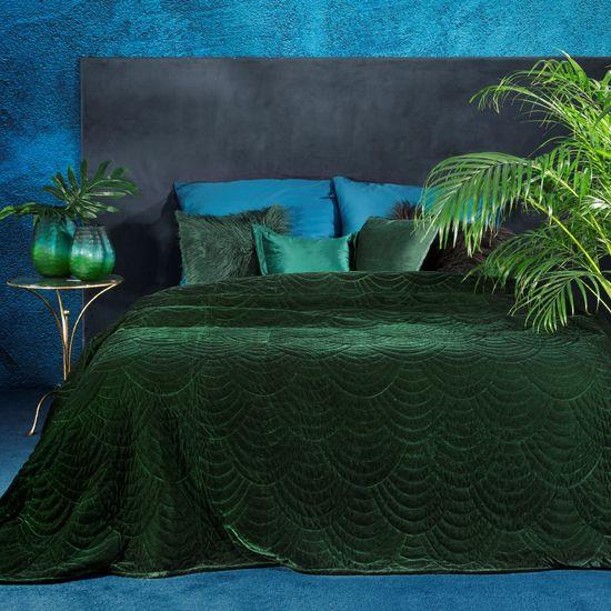 Ekskluzywna narzuta do sypialni pikowana - mój wybór Eva Minge - zielony 220x240 cm - 220 X 240 cm - zielony