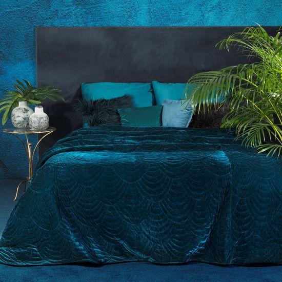 Ekskluzywna narzuta do sypialni pikowana - mój wybór Eva Minge - turkus 220x240 cm cm - 220 X 240 cm - ciemnoturkusowy