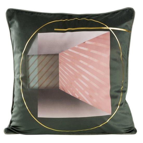 Stalowa POSZEWKA OZDOBNA ze złotym akcentem 45x45 cm - 45x45 - szary, różowy, złoty