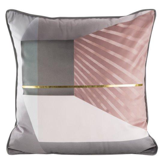 Srebrna POSZEWKA OZDOBNA ze złotym akcentem 45x45 cm - 45x45 - srebrny, różowy, złoty