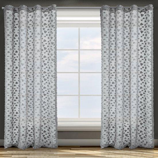 Zasłona w kolorze stalowym ze srebrnymi akcentami przelotki 140x250 cm - 140 X 250 cm