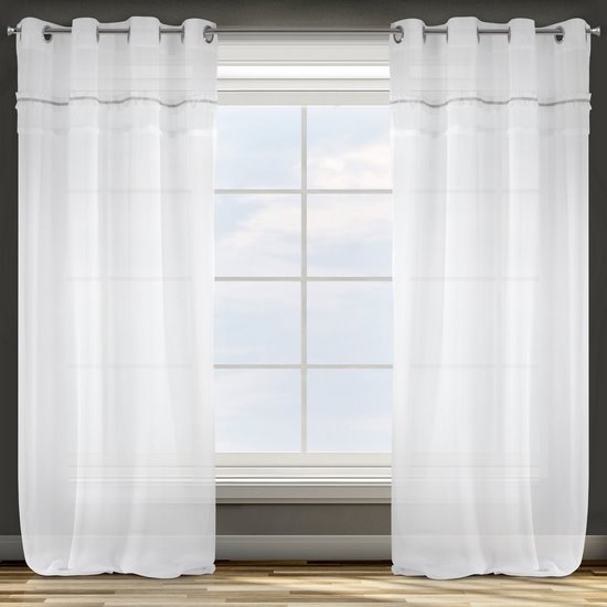 Zasłona biała z tradycyjnymi akcentami przelotki 140x250 cm - 140 X 250 cm - biały