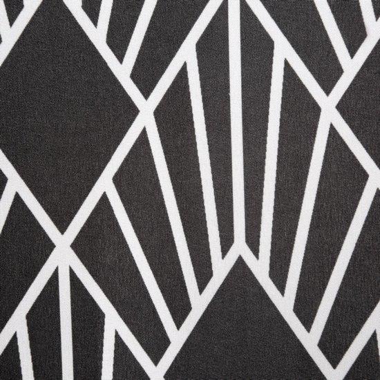 Zasłona w kolorze STALOWYM z białym wzorem przelotki 140x250 cm  - 140x250