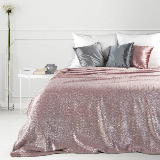 Miękki koc z mikroflano różowy 200x220 cm - 200 x 220 cm - różowy/srebrny