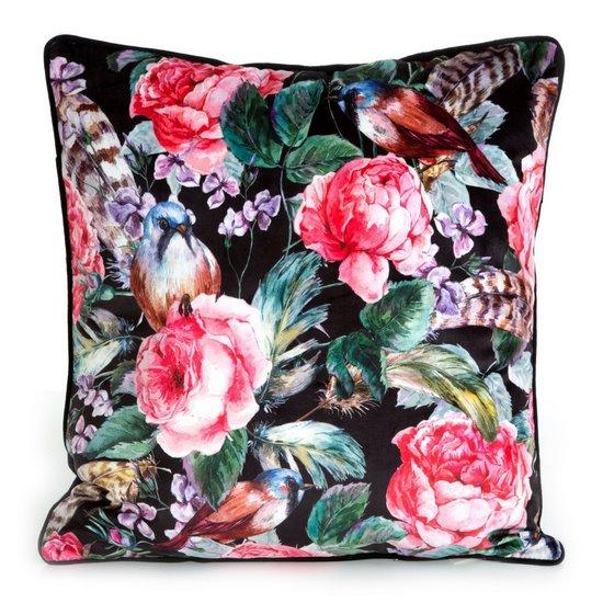 Welwetowa poszewka w kwiaty róże czarna różowa 45x45 cm - 45 X 45 cm - czarny/różowy