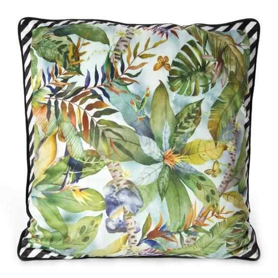 WELWETOWA POSZEWKA w kwiaty egzotyczne liście 45x45 cm - 45x45 - zielony, kremowy, żółty, czarny