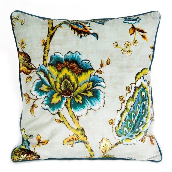WELWETOWA POSZEWKA w kwiaty niebieska żółta 45x45 cm - 45x45