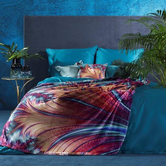 Ekskluzywny miękki koc - mój wybór Eva Minge - 150x200 fiolet i turkus - 150 X 200 cm - turkusowy/złoty