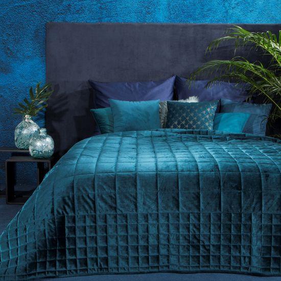 Pikowana narzuta do sypialni - mój wybór Eva Minge - turkusowa 220x240 cm - 220 X 240 cm - ciemnoturkusowy