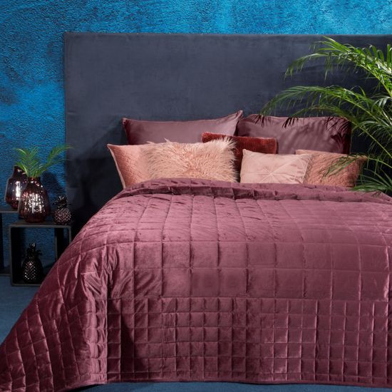 Pikowana narzuta do sypialni - mój wybór Eva Minge - różowa 220x240 cm - 220 X 240 cm - ciemnoróżowy