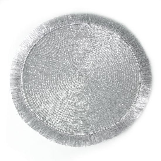 Srebrna podkładka stołowa okrągła średnica 38 cm - ∅ 38 cm - popielaty