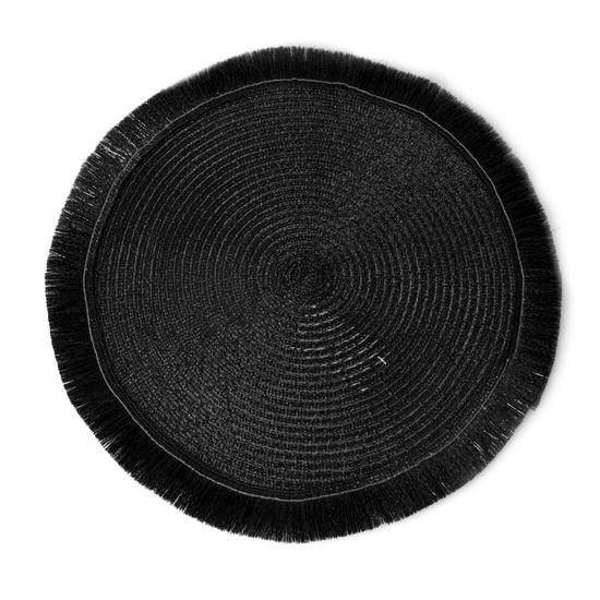 Czarna podkładka stołowa okrągła średnica 38 cm - ∅ 38 cm - czarny
