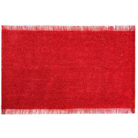 Czerwona podkładka stołowa z frędzlami 30x45 cm - 30 X 45 cm - czerwony/srebrny