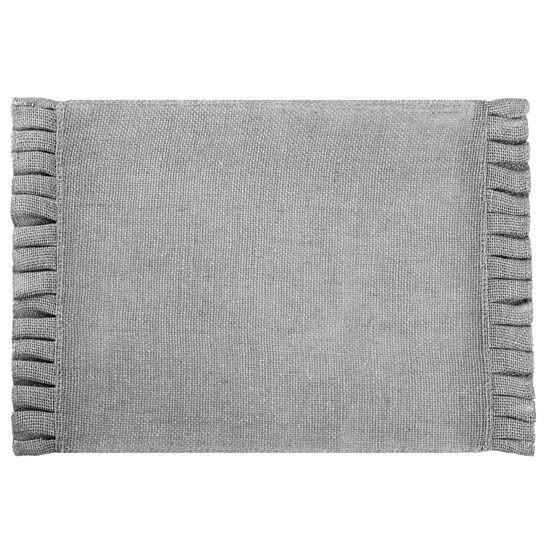 Srebrna podkładka stołowa z falbaną 30x45 cm - 30 X 45 cm - popielaty/srebrny