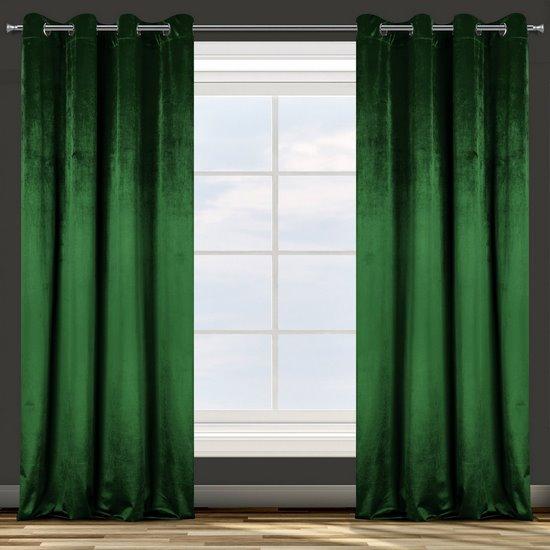 Zasłona welwetowa na przelotkach ciemna zielona 140x250 - 140x250