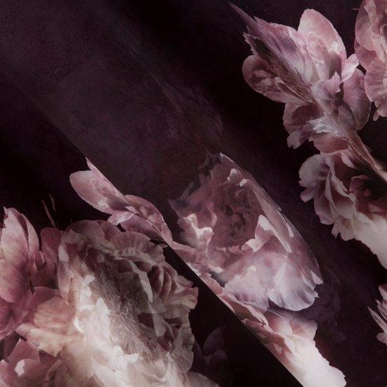 Bordowa zasłona welwetowa z motywem kwiatów 140x250 przelotki - 140 X 250 cm