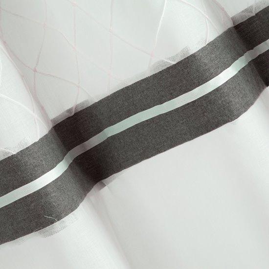 Nowoczesna firana z lamówką biel stal na przelotkach 140x250 - 140 X 250 cm