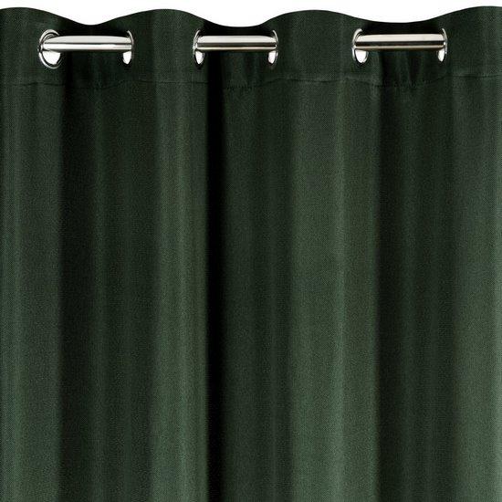 Zasłona CIEMNOZIELONA wzór jodełki przelotki 140x250 cm - 140x250 - zielony