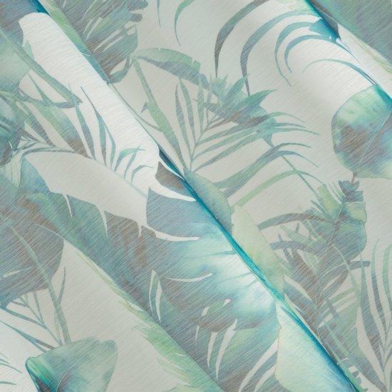 Zasłony do salonu w egzotyczne liście granat szary na przelotkach - 140 X 250 cm