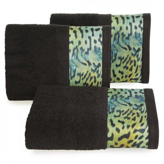 Ręcznik kąpielowy - mój wybór Eva Minge - czarny i zwierzęcy wzór 50x90 cm - 50 X 90 cm - czarny