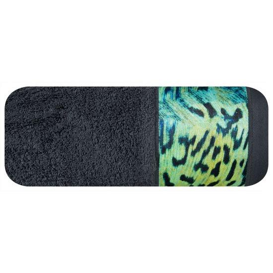 Ręcznik kąpielowy - mój wybór Eva Minge - grafit i zwierzęcy wzór 70x140 cm - 70 X 140 cm - stalowy