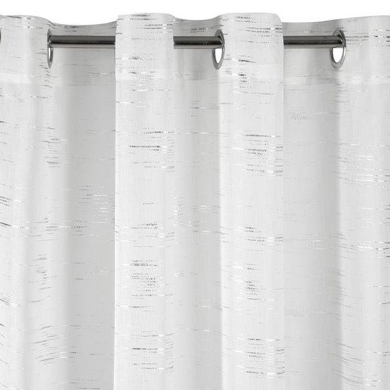 Zasłona LIN ze biała ze srebrnym nadrukiem 140x250cm na przelotkach - 140x250