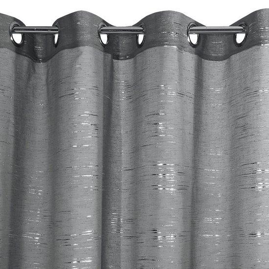 Zasłona LIN stalowa ze srebrym nadrukiem 140x250cm na przelotkach - 140x250 - stalowy i srebrny
