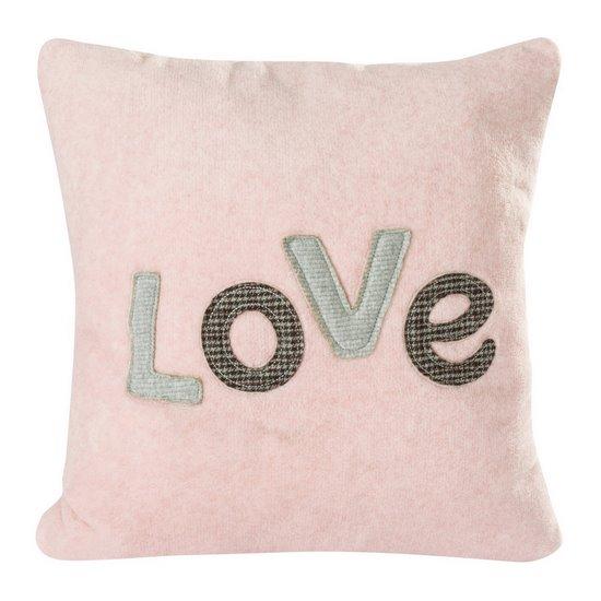 Różowa POSZEWKA Z MIKROFLANO z napisem LOVE romantyczny 45x45 cm - 45 X 45 cm
