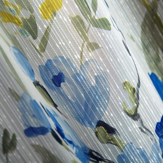 Elise FIRANA Z NADRUKIEM PANELOWYM w kwiaty na przelotkach 140x250 cm - 140 X 250 cm - niebieski
