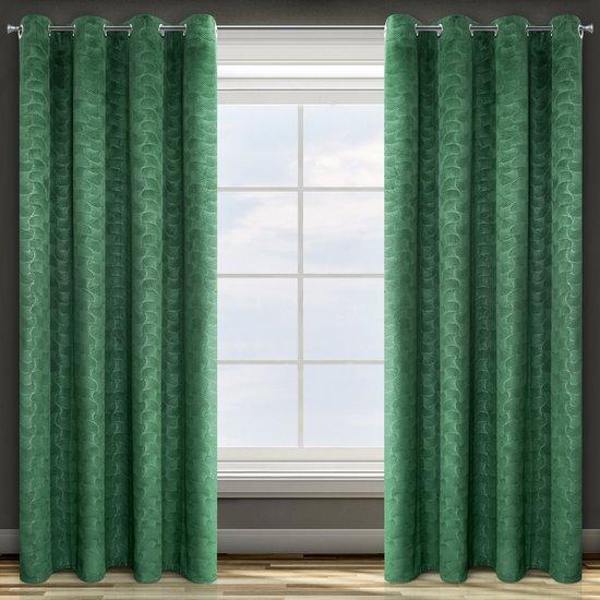Zielona ZASŁONA WELWETOWA wytłaczana na przelotkach ELLEN 140x250 cm Design91 - 140 X 250 cm - zielony