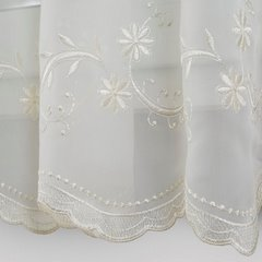 Firana haftowana kremowa na taśmie 400x145cm - 400 x 145 cm - kremowy 3