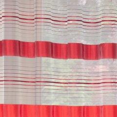 Zasłona w poziome czerwone pasy organza+atłas przelotki 140x250cm - 140x250 - biały / czerwony 3