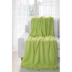 Koc miękki pled z frędzlami jednokolorowy zielony 170x210cm - 170 X 210 cm - zielony 2