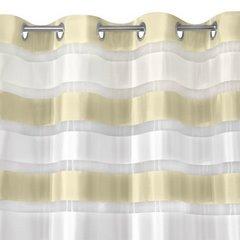 Zasłona poziome atłasowe pasy+organza kremowy+biały przelotki 140x250cm - 140 X 250 cm - kremowy 6