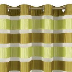 Zasłona poziome atłasowe pasy+organza odcienie zieleni przelotki 140x250cm - 140 X 250 cm - zielony/oliwkowy 6