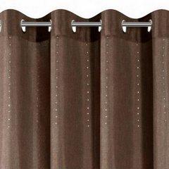Zasłona w stylu eko z kryształkami subtelny wzór brązowa przelotki 140x250cm - 140 X 250 cm - brązowy/srebrny 2