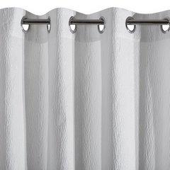 Zasłona z tkaniny o lekko pomarszczonej fakturze bez prasowania biała przelotki 140x250cm - 140 X 250 cm - biały 4